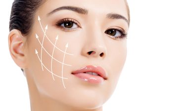 Woman with Grid for Plastic Surgery on Her Face New York NY,